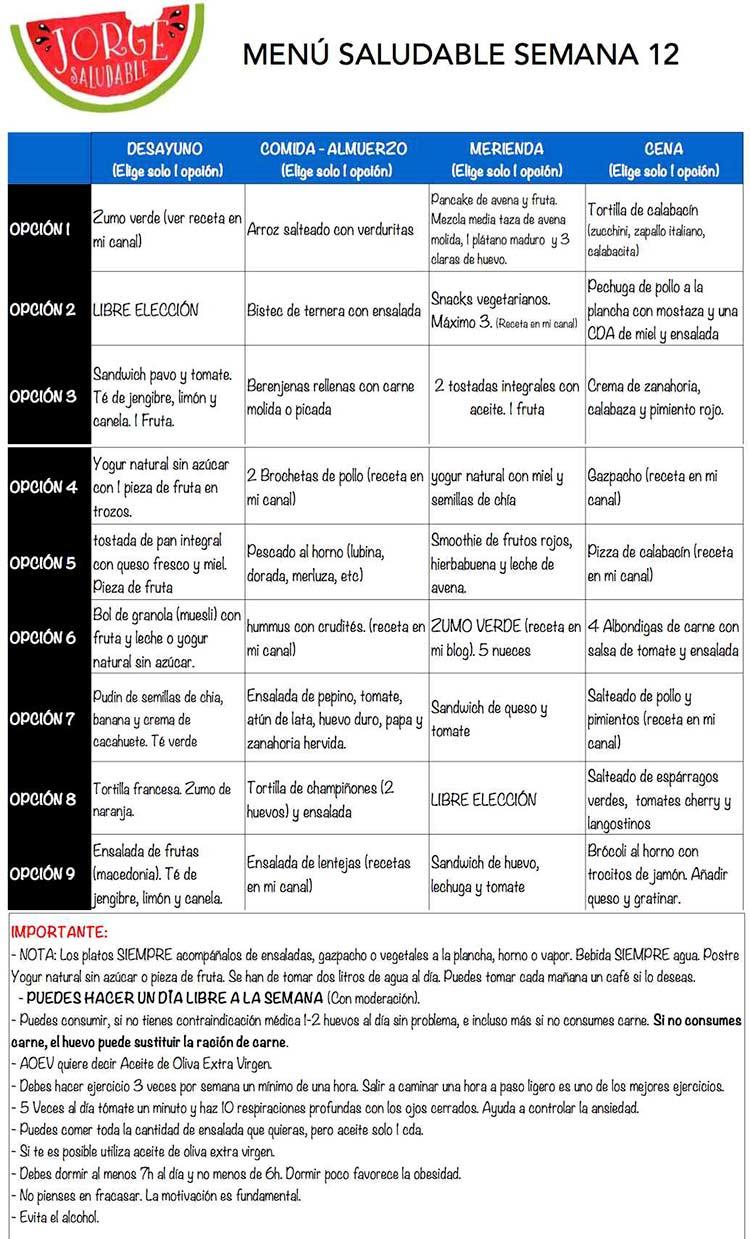 menu para adelgazar sin efecto rebote - semana 12