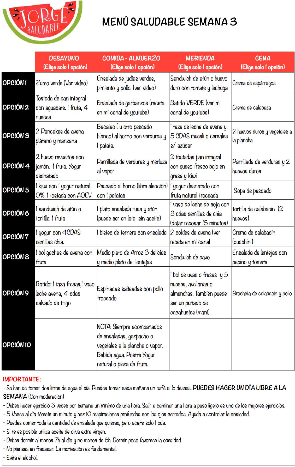 menu para adelgazar - SEM 3